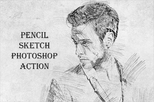 Pencil drawing pattern photoshop action