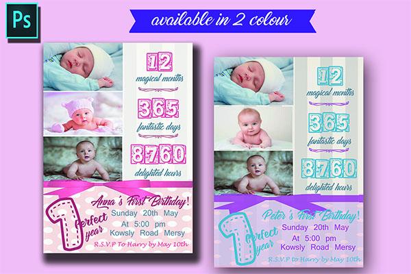 Baby Birthday invitation Card Design
