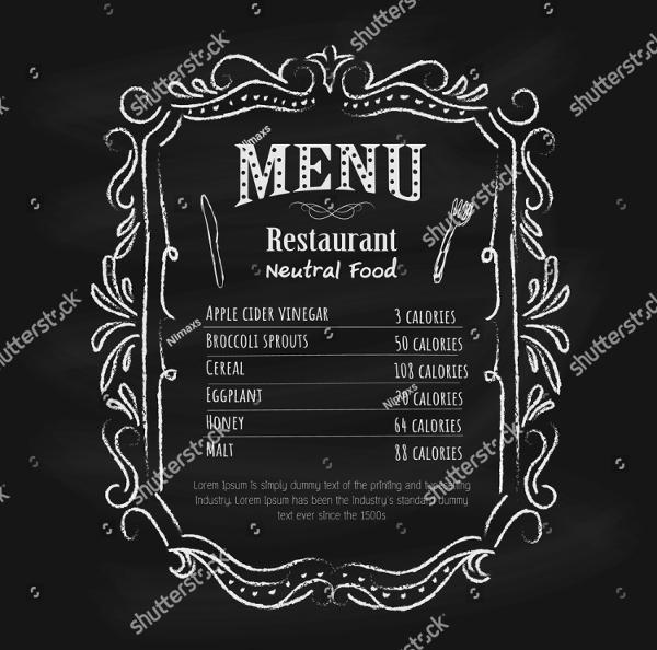 Blackboard Natural Food Menu Template