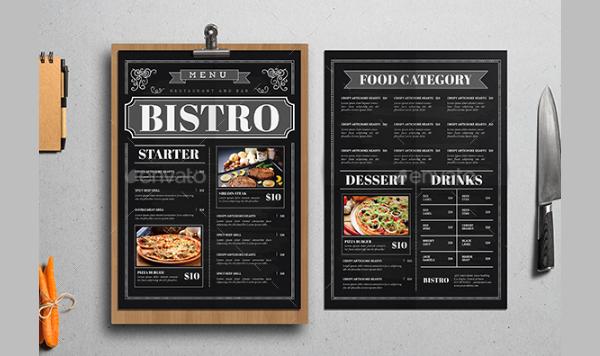 Blackboard Style Food Menu Template