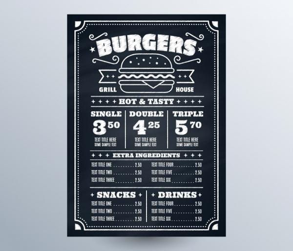 Blackboard With Fast food Menu Free Vector