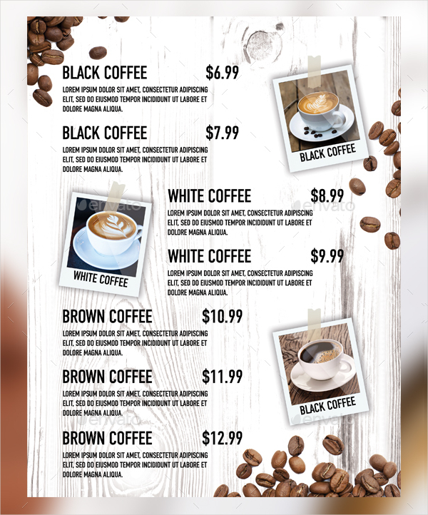 Black And White Coffee Menu Template