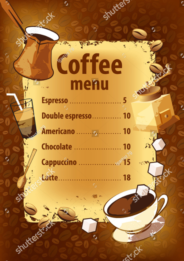 Coffee Grinder Menu Template