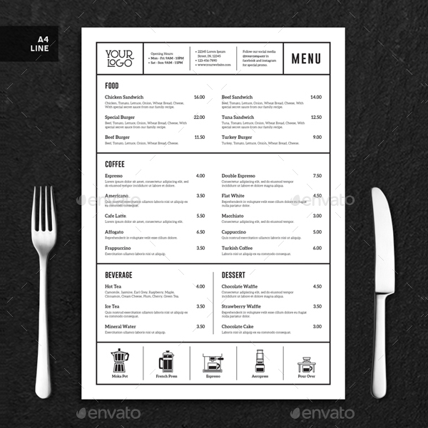 Coffee Menu Minimalist Template