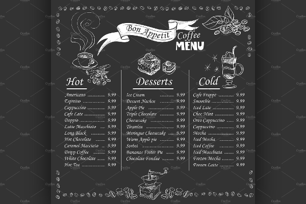 Coffee Menu On Chalkboard Template