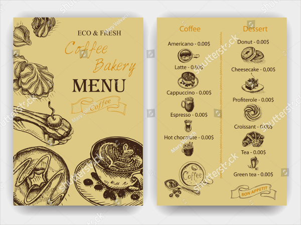 Coffee Bakery Menu Template