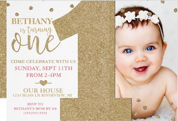 First Birthday Faux Gold Glitter Invitation