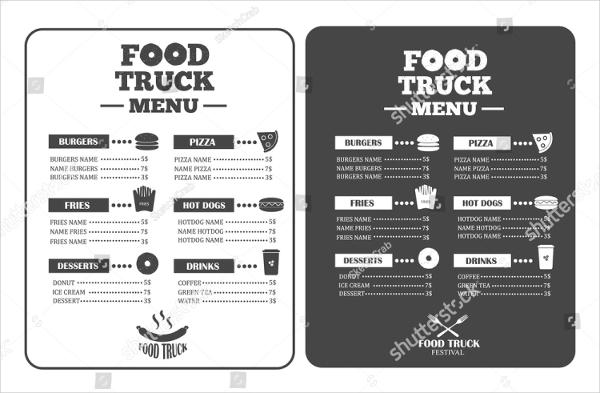 Food Truck Festival Fastfood Menu Templates