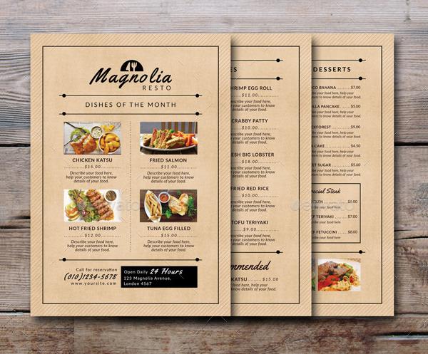 Food Truck Business Mangolia Menu Templates