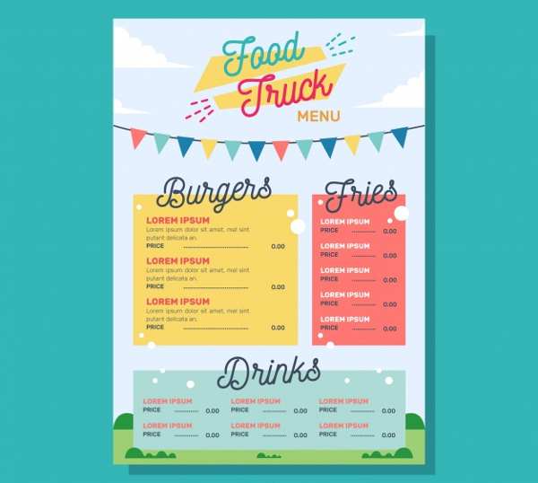 Food Truck Burger Menu