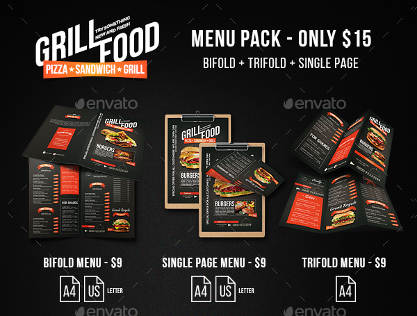 Grill BBQ Food Menu Bundle