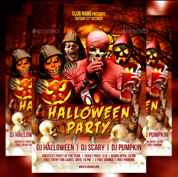 Halloween Party Celebration Flyer Template