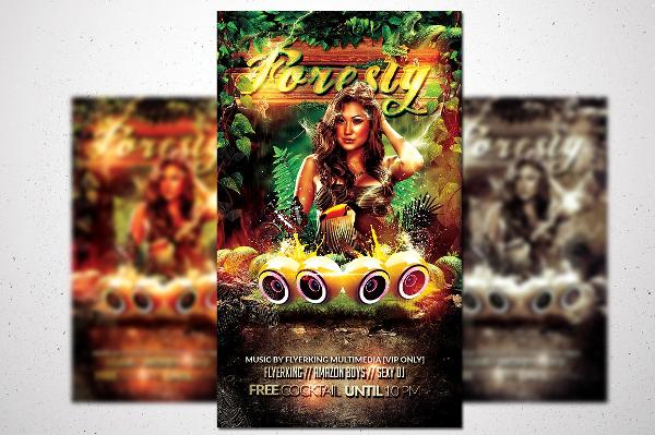 Modern Jungle Party Design Flyer Template