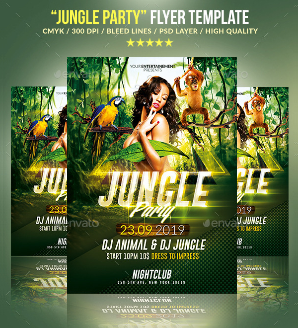 Jungle Party Psd Flyer Template
