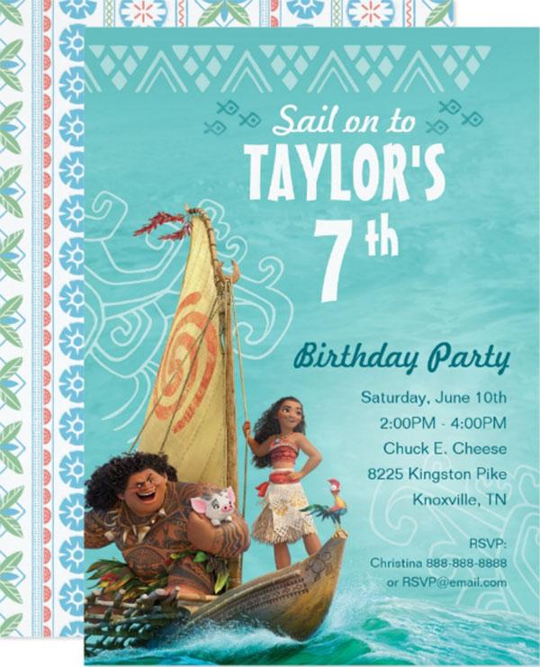 Moana and Oceania Birthday Invitation