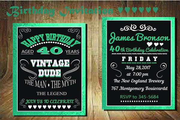 PSD Birthday Invitation Card Design