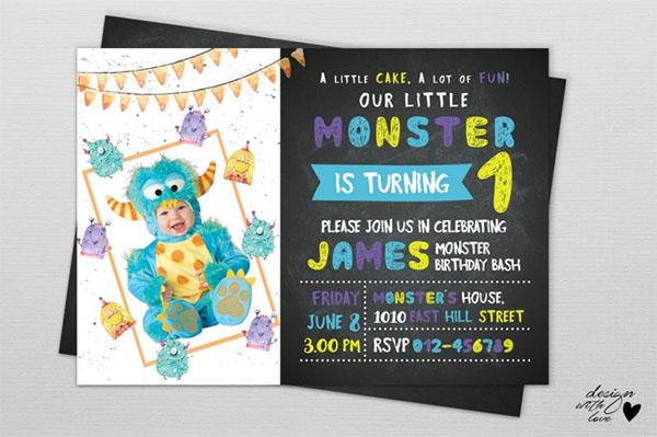 PSD Monster Birthday Invitation Template