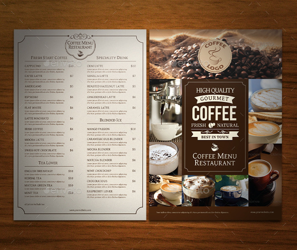 Professional Cafe Menu Template