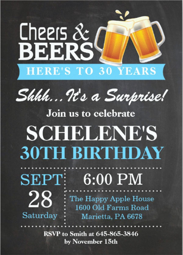 Surprise Cheers and Beers Party Invitation
