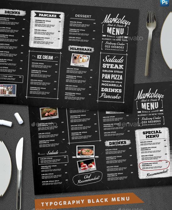 Typography Blackboard menu Template