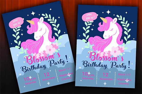 Unicorn Birthday Invitation Design