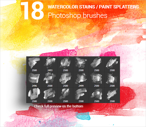 Watercolor Stains Photoshop Brushes