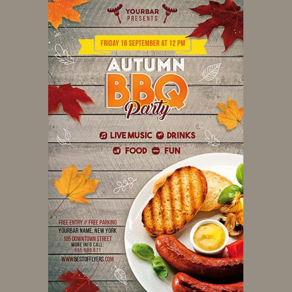 Autumn BBQ Party Free PSD Flyer Templates