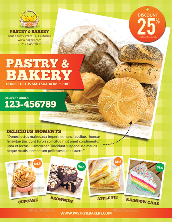 Bakery And Pastery Menu Flyer Template