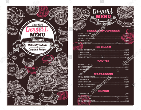 Bakery Dessert Menu Flyer Template  Dessert Menu Template