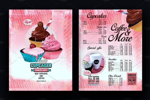 Bakery Menu Design Flyer Vintage Style