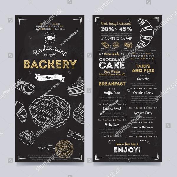Bakery Menu Hand Drawn Vector Template