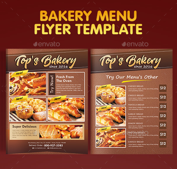 Bakery Menu Flyer Free Premium PSD PNG Vector Ai Downloads - Bakery flyer templates free