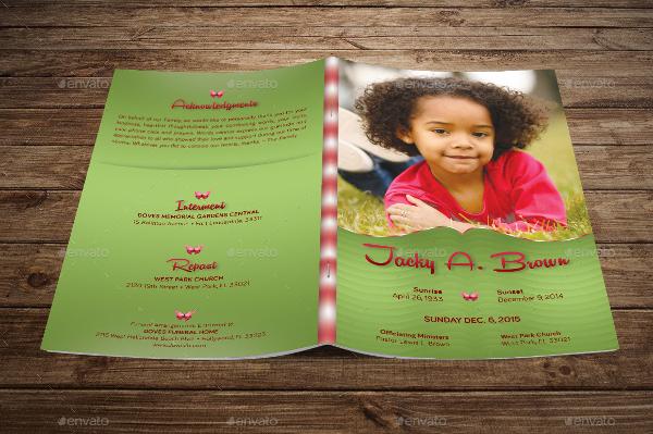 Photoshop Child Funeral Program Templates