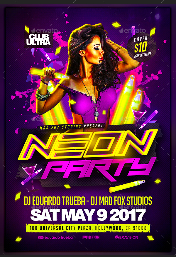18  neon party flyer templates