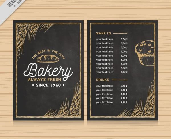 Elegant Bakery Menu With Drawings Free Vector