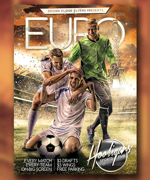 Euro Soccer Cloud Flyer Template