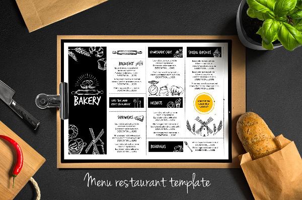 Food Menu, Bakery Flyer Template