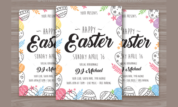 Happy Easter Color Flyer Template