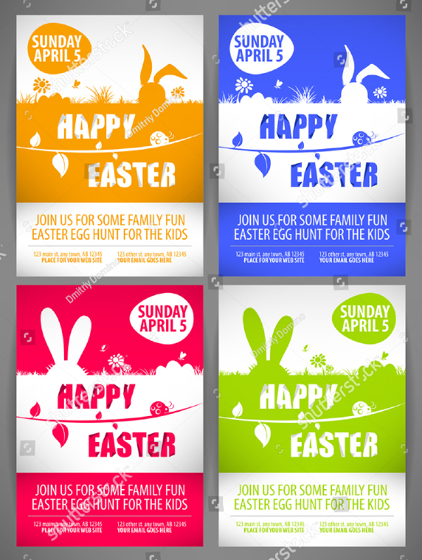 Happy Easter Colorful Vector Flyer