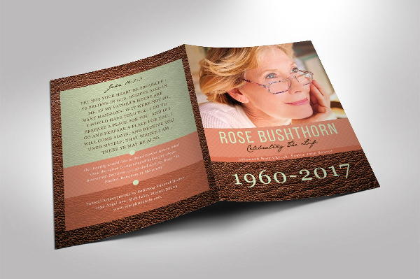 Leather Funeral Program Templates