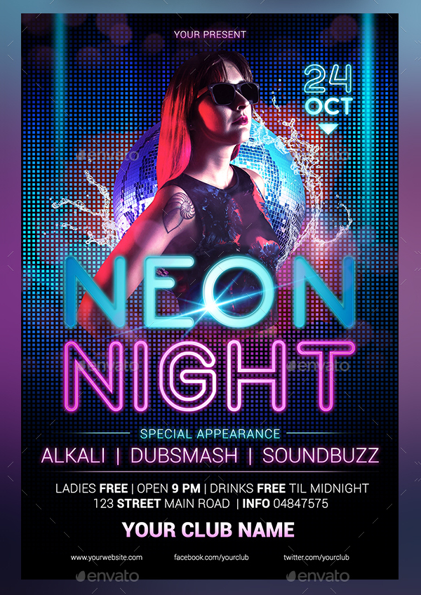 18 Neon Party Flyer Templates Free Psd Vector Eps Png Downloads