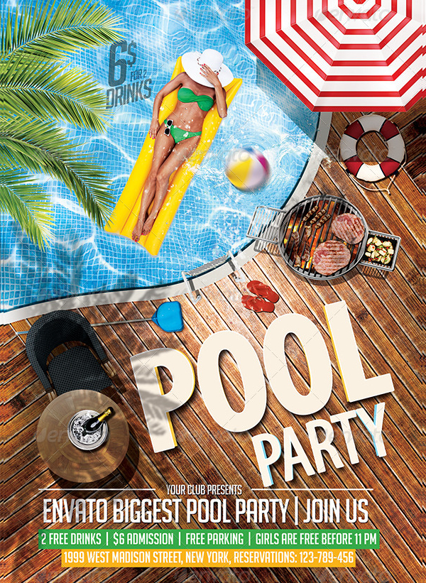 Pool Party Music Flyer Template