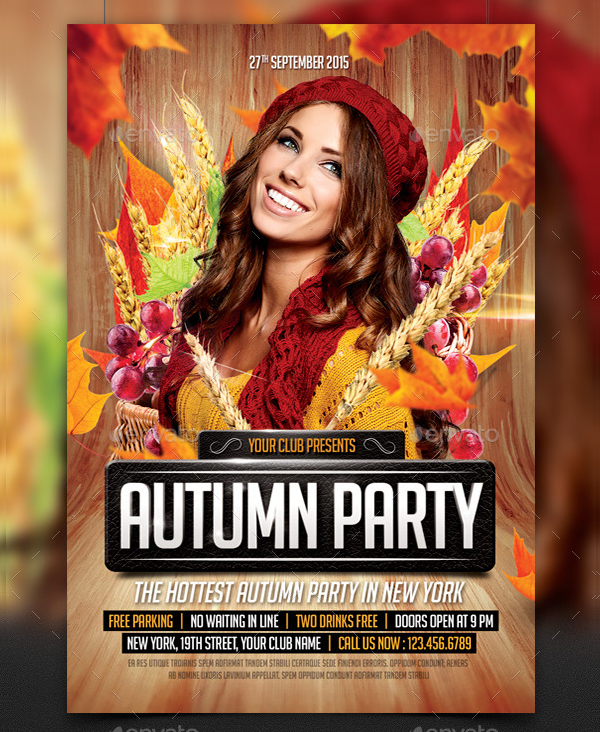 Simple Autumn Party Flyer Template