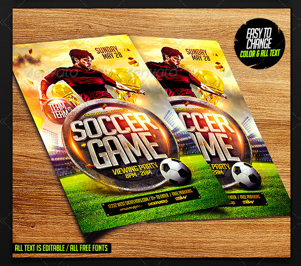 PSD Soccer Game Flyer Template