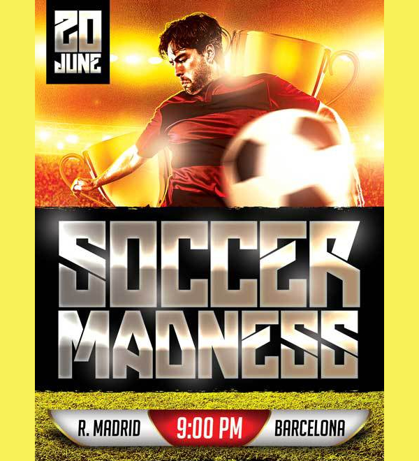 Soccer Game Free PSD Flyer Template