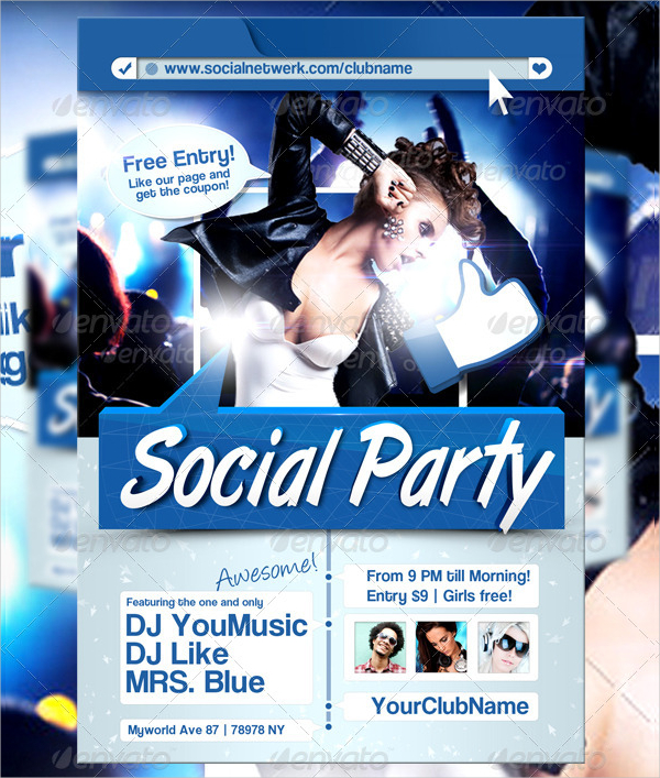 Social Media Party Flyer Template