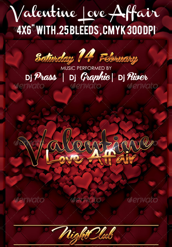 Valentines Night Club Flyer Template