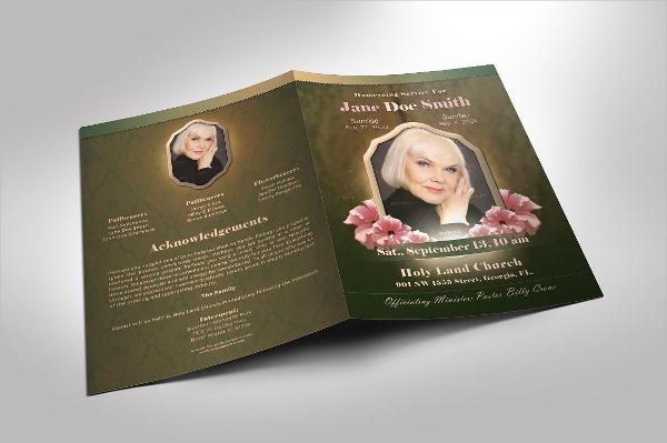 Vintage Green Funeral Program Brochure