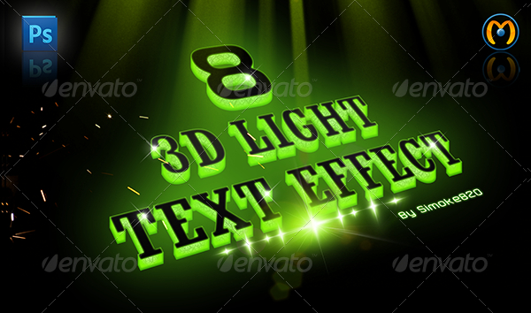 Text 3D Light Photoshop Actions