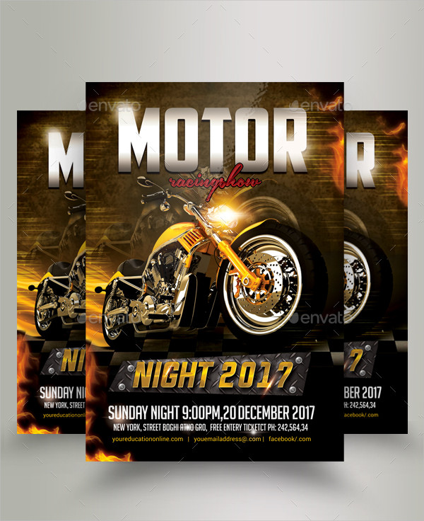 bike racing night show flyer template